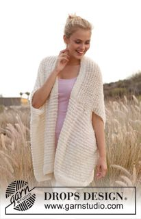 """Knitted DROPS vest - jacket in """"Alpaca Bouclé"""" and """"Lace"""". Size: S - XXXL…"""