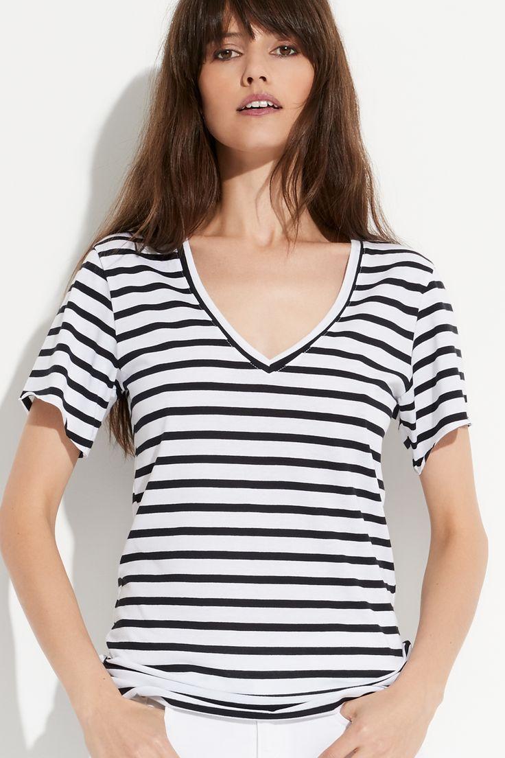 Stripe Deep V Tee by bon label. Summer 16.17. organic. ethical fashion. made in australia. parisian inspired. good for womankind | tshirt, t-shirt, cotton, parisian style, stripe, white, v-neck | SHOP bonlabe.com.au