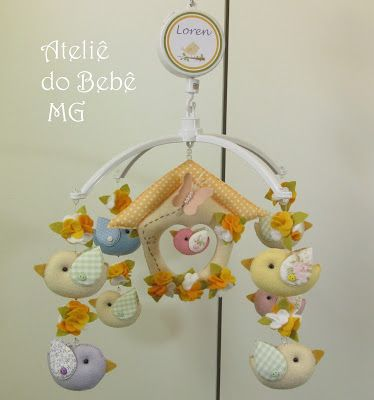 Ateliê do Bebê MG: Móbile Musical Pássaros ( Loren )