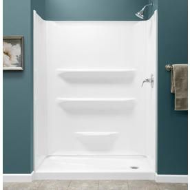 Style Selections Shower Base Kit 54-In X 27-In Right Drain Shower Base And Wall White White Acrylic Shower Base (Common: