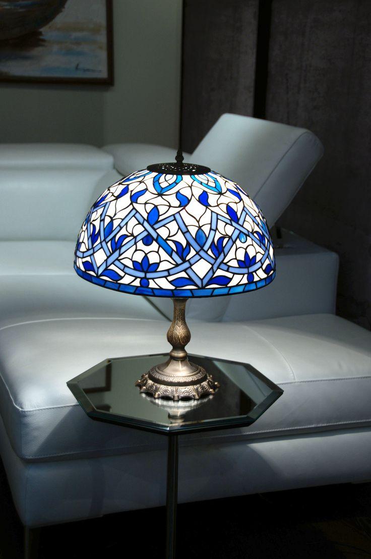 "Настольная лампа ""Адажио"", техника Тиффани, стекло, D-40 см. glassgo-lab.ru"