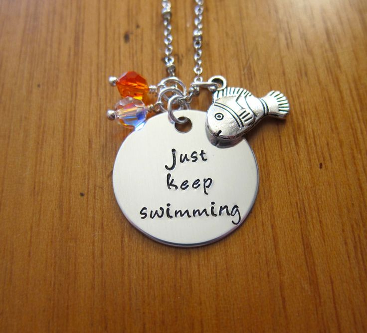 """Finding Nemo Necklace. Finding Nemo Necklace Dory Inspired """"Just Keep Swimming"""". Silver colored  crystals Finding Nemo Necklace by WithLoveFromOC (item: 20159141753)"""