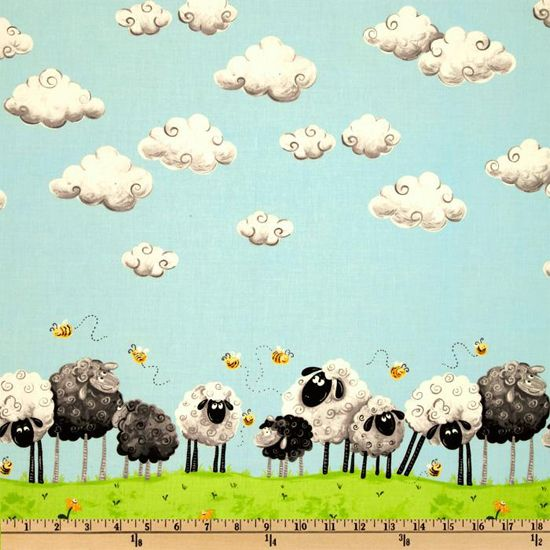 Lewe the Ewe Fabric SB Black White Grazing Sheep Lambs Bees Clouds Border Print