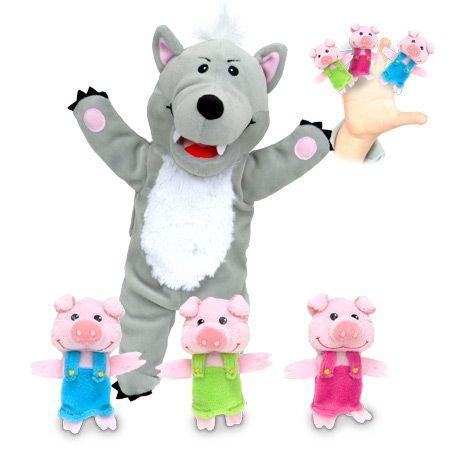 """Σετ γαντόκουκλες """"Ο Λύκος και τα τρία γουρουνάκια """" Διαστάσεις: 22 x 32 εκ. (4 κομμάτια)  Από 3 έως 9 ετών. http://www.toy-box.gr/paixnidia/koukles/gantokoukles/results,1-90"""