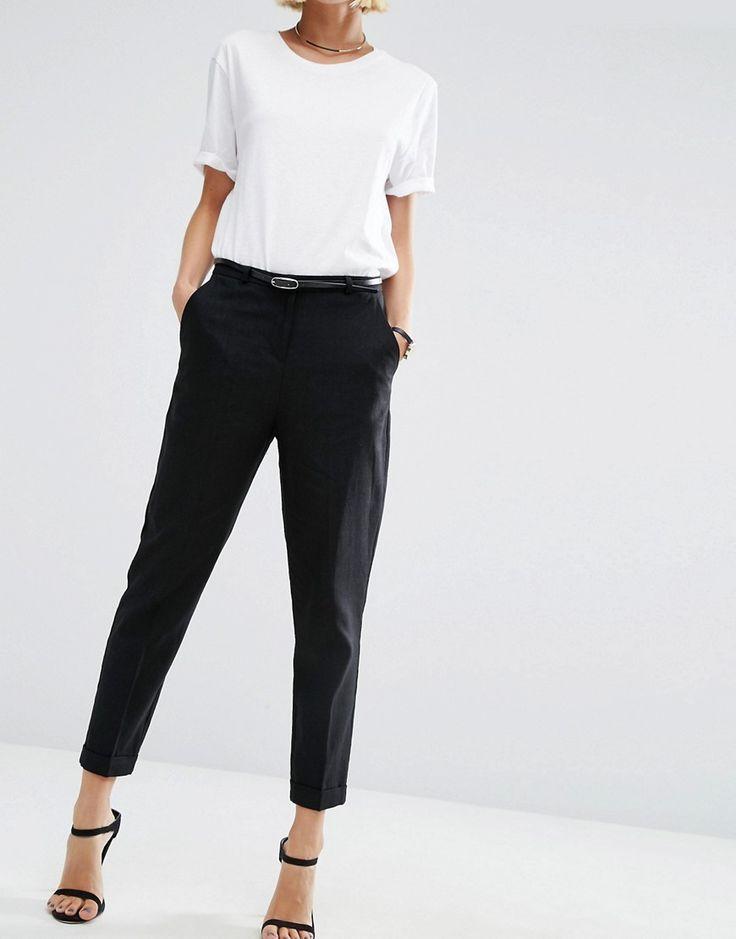 Image 4 of ASOS Linen Cigarette Pants with Belt