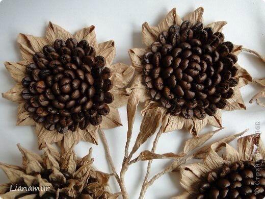 Цветы из кофе и бумаги. 9