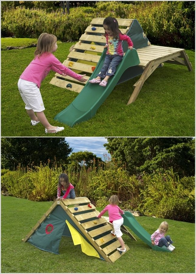 "diy climbing structure for toddlers - Google Search (use ""a-frame bracket"" for climbing wall)"