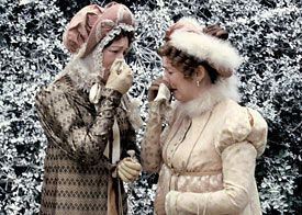 Mrs. Bennet and her sister Mrs. Phillips indulge in some traditional crying at the Bennet girls' wedding.