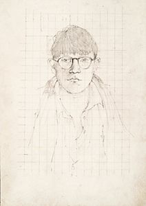 DAVID HOCKNEY: DRAWINGS - Self Portrait Study, 1954  pencil on paper, 14x10 in.