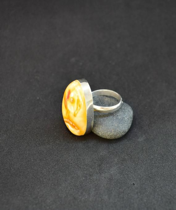 Amber ring gemstone jewelry for her natural Baltic amber jewelry sterling silver adjustable ring gift for girlfriend