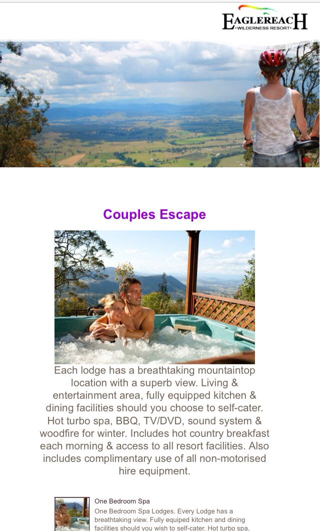 Eagle reach wilderness resort Vacy is a perfect romantic weekend away with your own spa on the deck, the restaurant is amazing or you can choose just to hide away in your cabin the whole time.