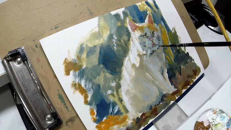 """油絵の描き方一例 厚紙に描く 「猫」 How to oil painting Thick paper """"Cat"""""""
