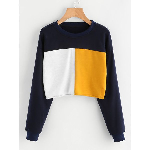 SheIn(sheinside) Color Block Sweatshirt (110 GTQ) ❤ liked on Polyvore featuring tops, hoodies, sweatshirts, multicolor, color block pullover, colorblock sweatshirts, colorful tops, colourblock sweatshirt and long sleeve stretch top