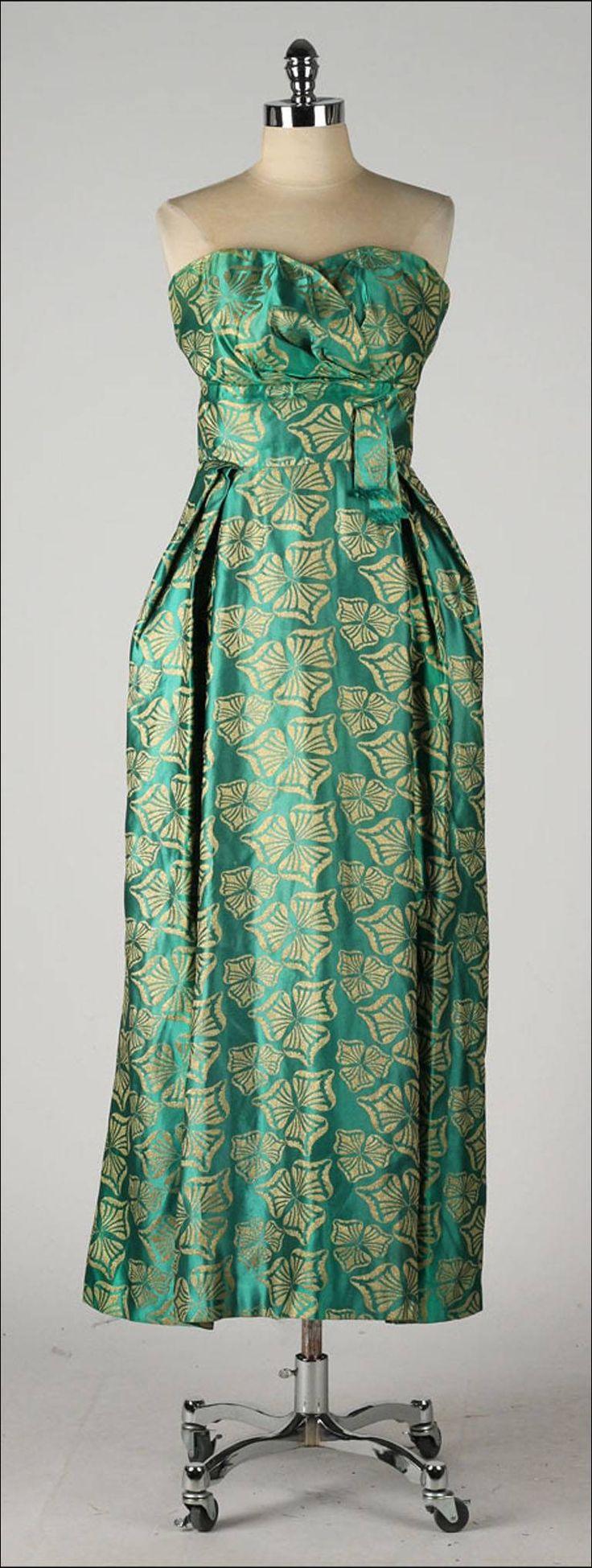 Vintage 1950's Helena Barbieri Green Silk Satin Brocade Dress
