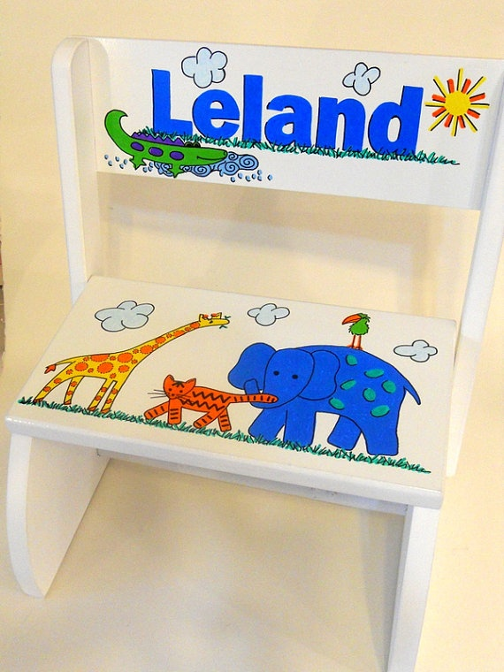 Personalized Childu0027s Step Stool Jungle by littlewhitedogstudio $42.00  sc 1 st  Pinterest & 51 best Childrens stools images on Pinterest | Step stools ... islam-shia.org