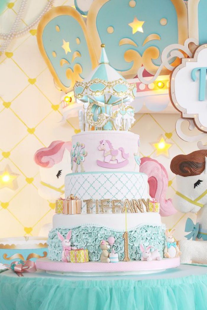 Cake from a Carousel Birthday Party via Kara's Party Ideas   KarasPartyIdeas.com (5)