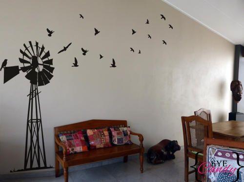 Vinyl Wall Art -Afrikaans windpomp pump