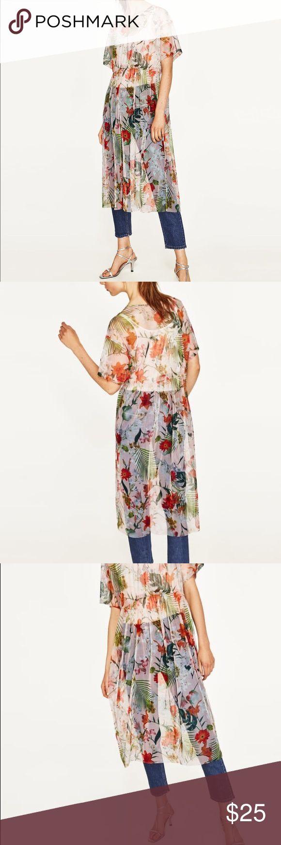 I just added this listing on Poshmark: Zara Long Tule T-shirt with floral print. #shopmycloset #poshmark #fashion #shopping #style #forsale #Zara #Tops