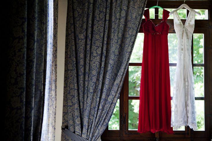 The bride and bridesmaid dress