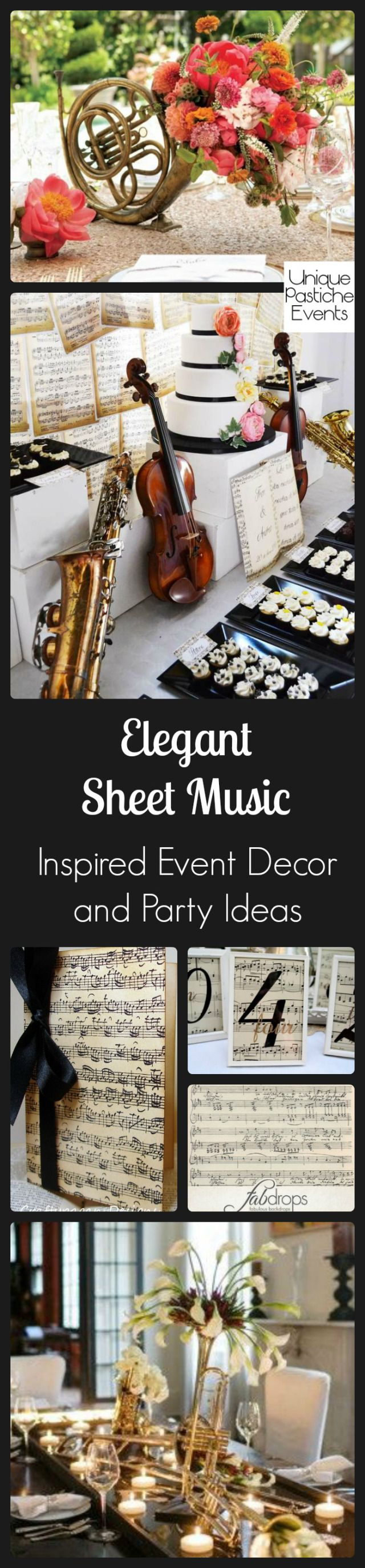 Elegant Sheet Music Inspired Event Decor and Party Ideas #IdeaBoard #InspirationBoard