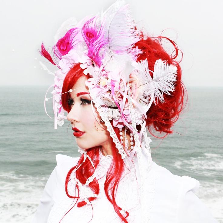 Pink tribal feather headdress - fuschia white rococo pearls ribbons headband. $63.00, via Etsy.