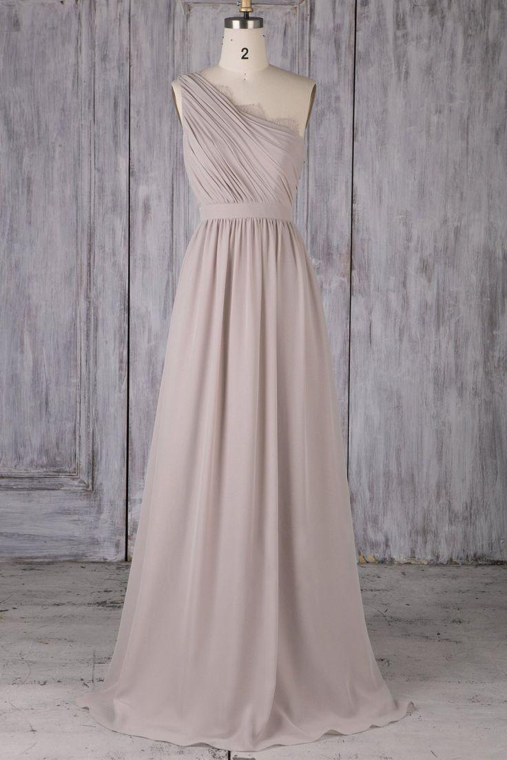 Lace One Shoulder Sleeveless Long Solid Ruched Chiffon Bridesmaid Gown – JoJoBride #bridesmaid #wedding #bridesmaiddress #homedecor