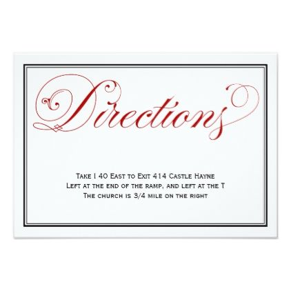 #Elaborate Red and White Wedding Directions Card - #weddinginvitations #wedding #invitations #party #card #cards #invitation #elegant