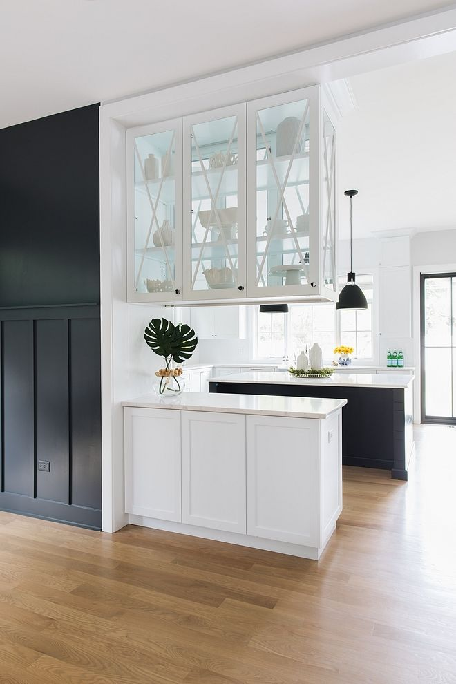 The Upper Cabinets Feature Glass Doors On Both Sides Allowing More Natural Light Into The Dining Interior Design Farmhouse Interior Farmhouse Interior Design