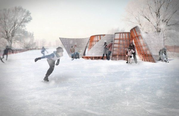 Every year, the hardy residents of Winnipeg, Manitoba, love to ice skate up the frozen Assiniboine Credit Union River, known as the world's longest naturally frozen river. To make the adventure a little more cozy, Toronto-based architecture firm Lateral Office have designed clever shelters as part of the 2013 International Warming Hut Exposition Competition (yep, that's a real competition!)
