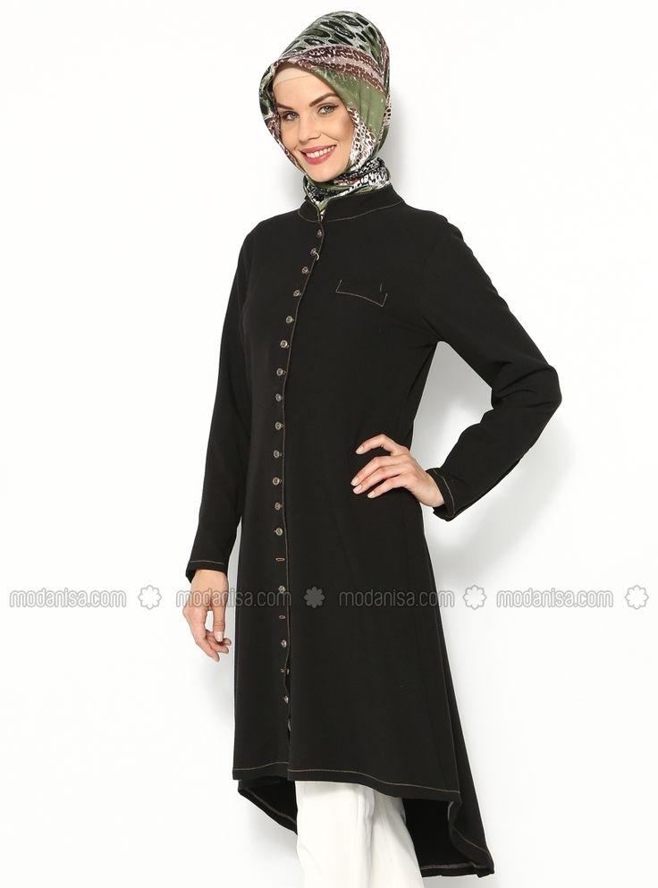 Sık Düğmeli Tunik - Siyah - Sultan - I Yegah