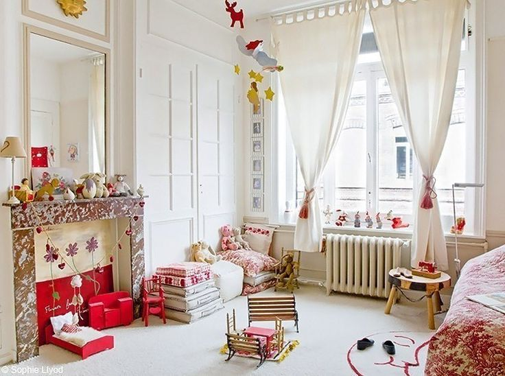 Children's rooms are decorated with garlands, bedrooms