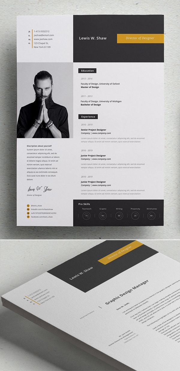 Professional Cv Resume Templates With Cover Letters Design Graphic Design Junction Graphic Design Resume Resume Design Template Resume Design Creative