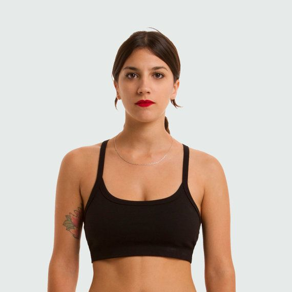 Yoga Bra Top Strappy back Top Cotton Bralette by TiendaCeremony