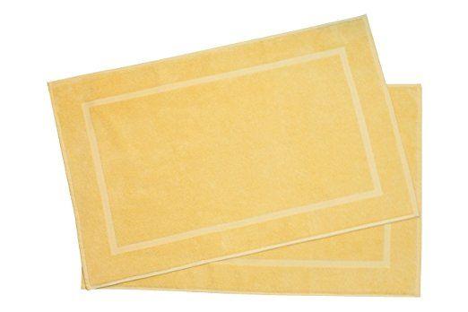 """ZOLLNER® 2er-Set Badematten / Badvorleger / Badteppich sonne 50x80 cm aus 100% Baumwolle, Gewicht ca. 520 g/qm, in weiteren Farben erhältlich, in Premium-Qualität, Serie """"Star-Elba"""""""