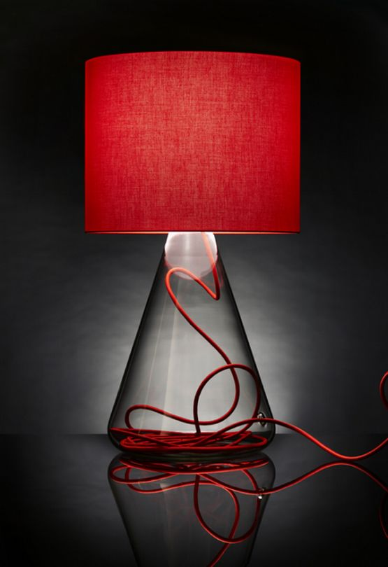 Colored Cord Transparent Glass Base Table Lamps, Lamp No1 by Nicolo Taliani
