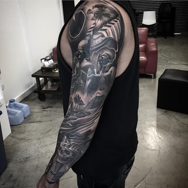 Black and grey Egyptian sleeve by @dannytruongtattoo  FOR BOOKINGS w: lighthousetattoo.com.au : contact@lighthousetattoo.com.au ☎️: (+61 2) 9316 4565  #australiantattooistsguild #tattoo #lighthousetattoo #lighthousetattoostudio #lighthousetattoosydney #sydneytattoo #sydneytattooartist #tattooartistsydney #dannytruong  #blackandgreytattoo #realismtattoo #egyptiantattoo #pyramidtattoo #pharaohtatto #LH