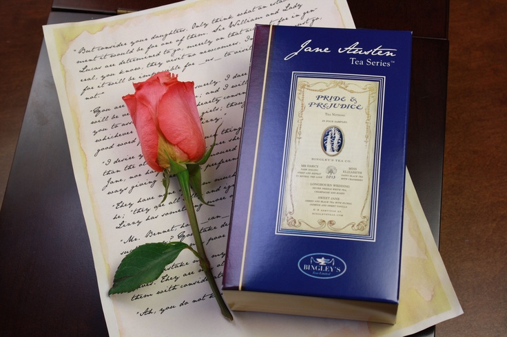 Bingley's Teas : Mr. Darcy, Miss Elizabeth, Sweet Jane Bennet, Longbourn Wedding tea Notions in tea  http://www.bingleysteas.com/jane-austen-tea-series/black/pride-and-prejudice-anniversary-notions-sampler