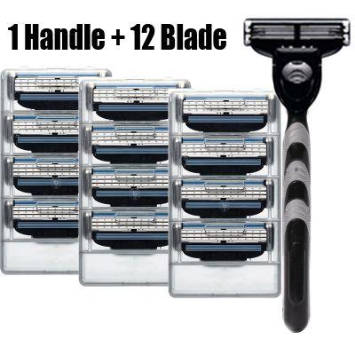 12 pcs 3 capa de hojas de afeitar + 1 pcs titular de afeitar cuidado facial seguras cuchillas de afeitar cuchilla de afeitar manual de afeitar máquina de piedra 3
