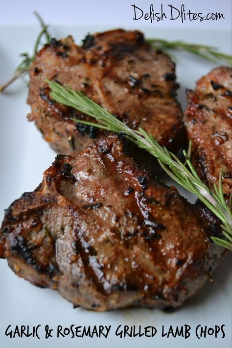 Garlic & Rosemary Grilled Lamb Chops #spring #lamb #recipes http://delishdlites.com/gluten-free-recipes/perfect-grilled-lamb-loin-chops-recipe/