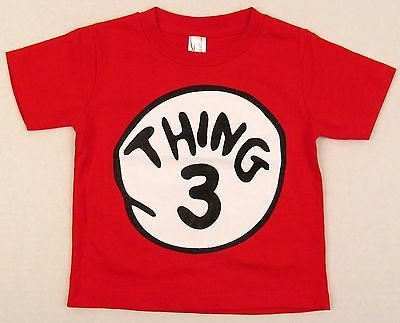 dr seuss thing 3 three baby infant t shirt cat in the hat tee 6m 12m 18m 24m new infant and babies