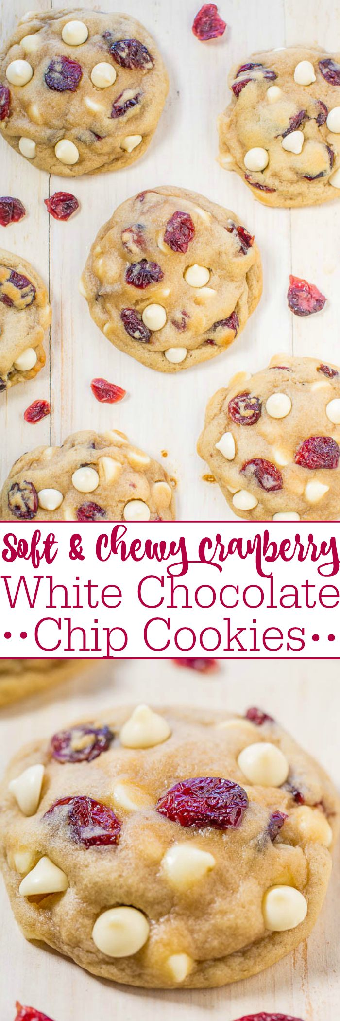 Soft and Chewy Cranberry White Chocolate Chip Cookies - Super soft, buttery, and a holiday baking must-make!! Very popular at cookie exchanges and everyone will want the recipe! So good!!