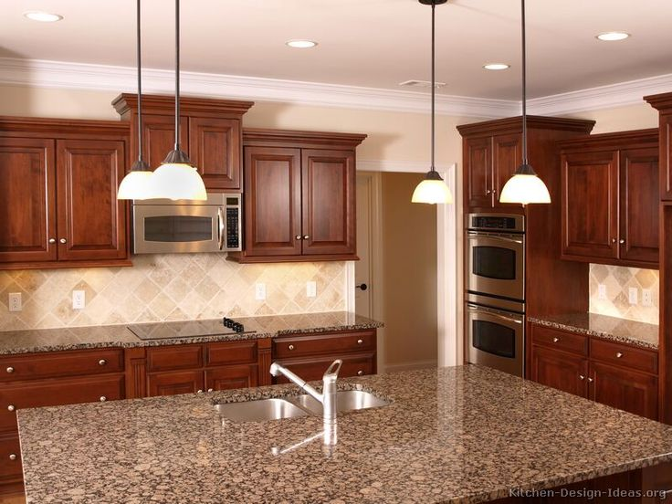 kitchen idea of the day cherry stained kitchens gallery - Kitchen Cabinets And Countertops Ideas
