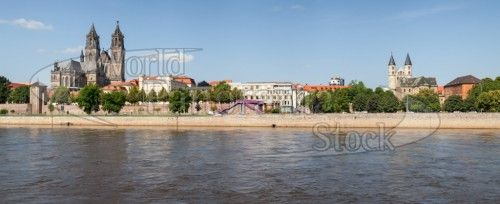Magdeburg along the River Elbe, Saxony Anhalt, Germany