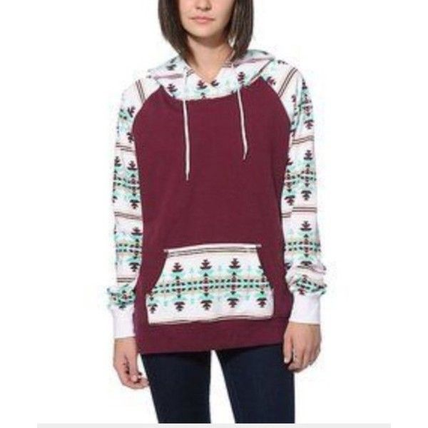 Sweater: jacket color/pattern colorful hoodie aztec jumper burgundy... ❤ liked on Polyvore featuring tops, hoodies, sweatshirt hoodies, print hoodies, aztec hoodies, aztec pattern hoodie and purple hoodies