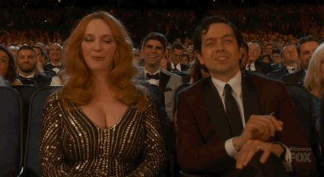 Pin for Later: 8 People Who Could Not Be Bothered at This Year's Emmy Awards Christina Hendricks This was how she reacted during Jon Hamm's acceptance speech, for the record.