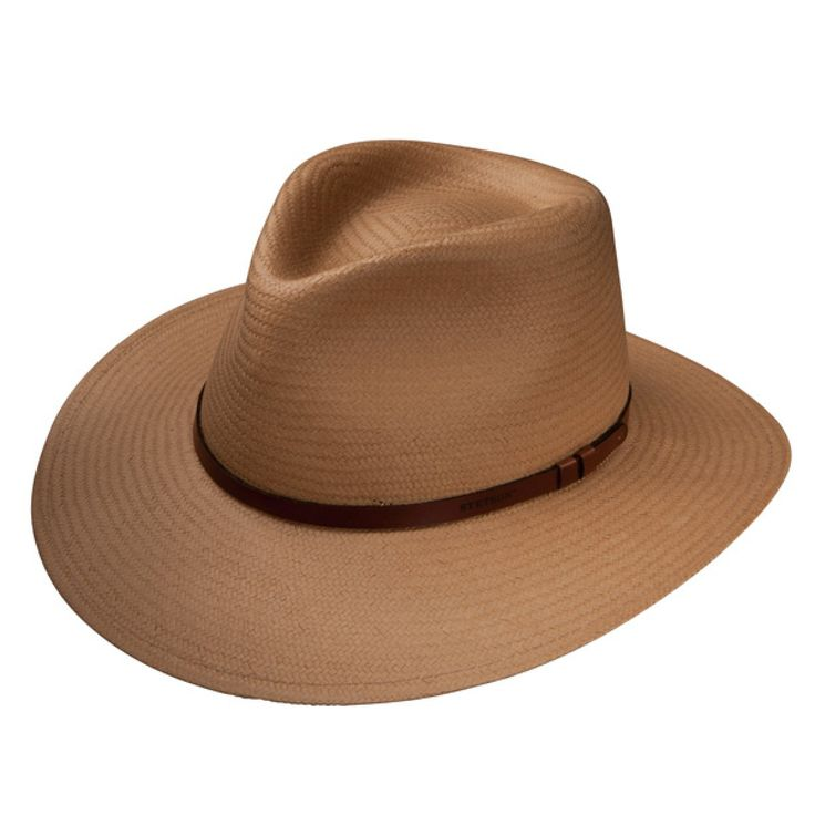Stetson Limestone - Straw Fedora Hat $67.98   The Limestone from Stetson is perfect for trips to town or a night out with the lady. Give that cowboy hat a rest, and try this shantung straw fedora that is finished off with a simple brown leather hat band.