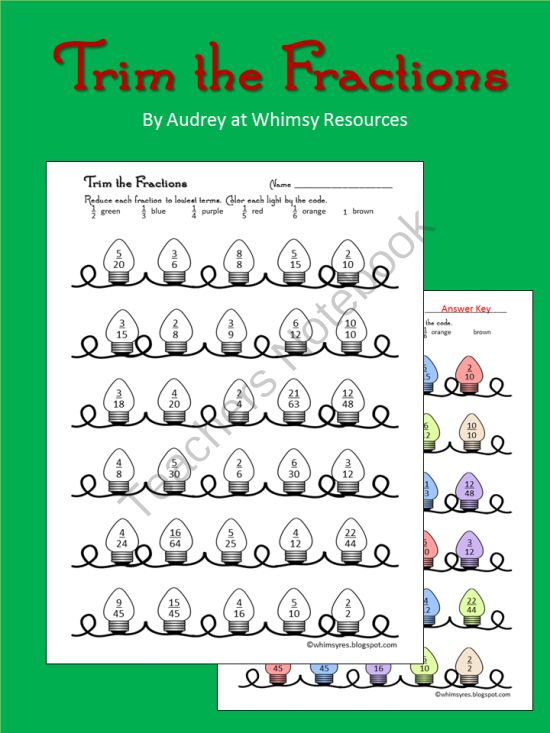 Equivalent Reduce Fractions- Christmas- Trim the Fractions from Whimsy Resources on TeachersNotebook.com (2 pages)  - Fun worksheet to reinforce reducing fractions. Color the lights according to lowest terms. Seasonal.  Equivalent Reduce Fractions- Christmas- Trim the Fractions