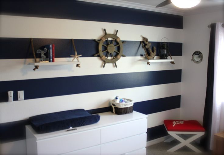 Nothing says nautical like a navy and white-striped wall! #nursery #nautical: Baby Growing, Quartos Filho, Quartos Nautico, Stripes Wall, Navy Stripes, Google Search, Projects Nurseries, Decoração Marinheiro, Baby Girls Nurseries