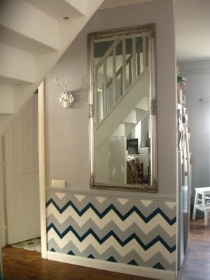 Just a splash of a chevron painted wall-  great idea for a wall that won't fit furniture but needs interest