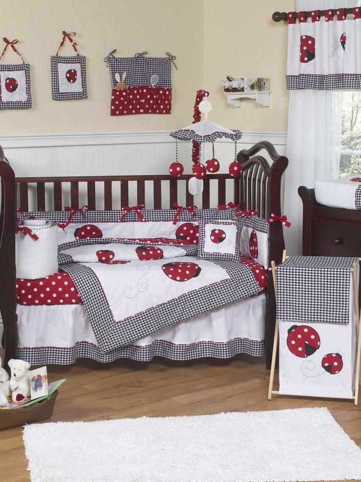 Red and White Ladybug Polka Dot Baby Bedding 9-Piece Crib ...